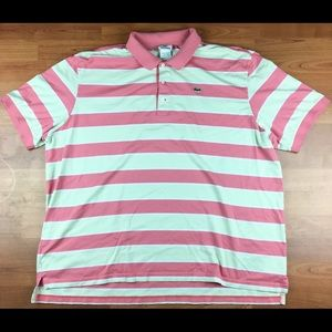 8e99b6667 Lacoste Patch Embroidered Striped Polo Shirt SZ 9